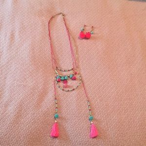 Jewelry - Pink & Turquoise Bobble Fringe Necklace & Earrings